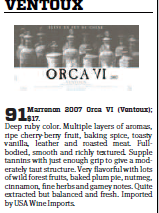 wine magazine Wine Enthusiast Around the Rhone - Orca 91/100